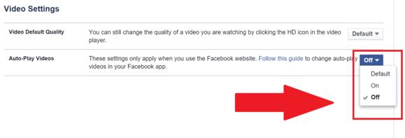 Disable Facebook auto play video